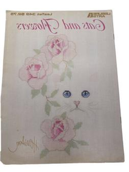Leisure Arts 0349 CATS & FLOWERS   cross stitch 8pg leaflet