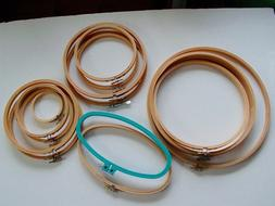 15 Wooden Embroidery Hoops Lot Round Oval Frames Cross Stitc