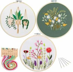 3 Pack Embroidery Starter Kit with Pattern,Kissbuty Full Ran