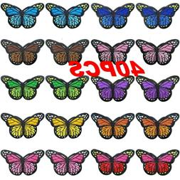 40PC Fabric Butterfly Iron Patches Embroidery Applique Patch