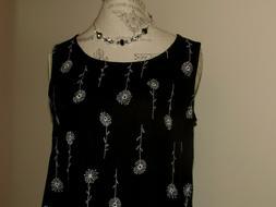 DAVID BROOKS Black and White Embroidery Sleeveless Long Maxi