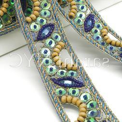 BLUE GREEN COSTUME trimming,edging,trim,sequin,bead,EMBELLIS