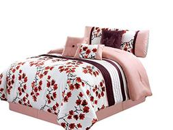 HGS 7-Pc Cherry Blossom Bird Embroidery Pleated Comforter Se