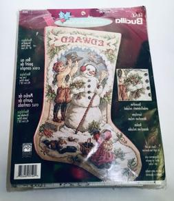 Bucilla Counted Cross Holiday Stocking NOSTALGIA Snowman Ort