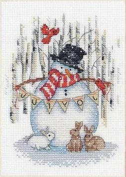 "Dimensions Counted Cross Stitch Kit 5""X7"" Joyful Snowman (14"