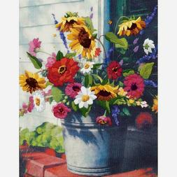"""Dimensions Crewel Embroidery Kit Bucket Of Flowers 11"""" X 14"""""""