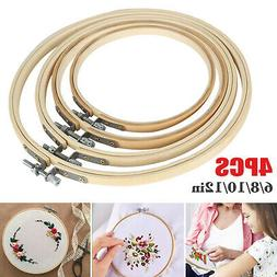 Embroidery Hoops Set Bamboo Wood Round 6, 8, 10, 12 Inch Cro