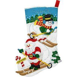 Felt Embroidery Kit ~ Plaid/Bucilla Downhill Skiers Stocking