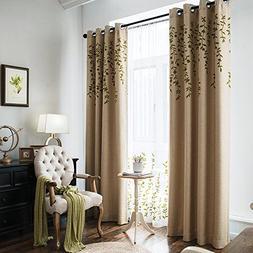 Melodieux Flower Embroidery Faux Linen Window Blackout Noise