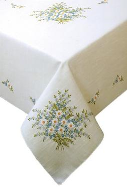 Forget Me Not Stamped Oblong Tablecloth For Embroidery-50X70
