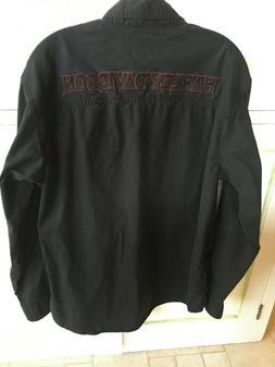 Harley Davidson Men's Black Casual Button Down Size Med Tall