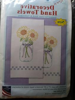 JDNA Decorative Hand / Dish towels Sunflowers Cross Stitch E