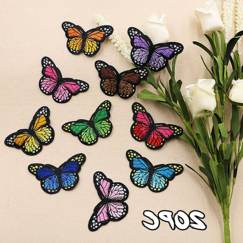 20 pieces butterfly iron on patches embroidery