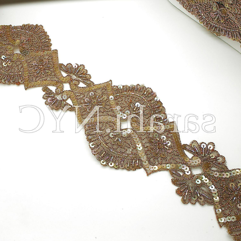 brown beige costume trimming edging trim sequin