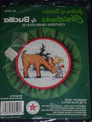 reindeer hoop counted cross stitch kit by