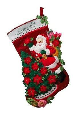 santa poinsettia felt stocking