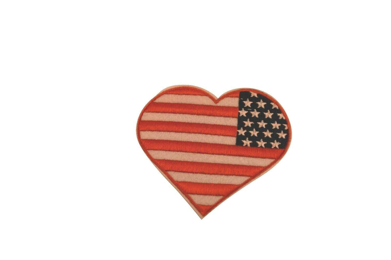 usa patriotic flag heart iron on patch