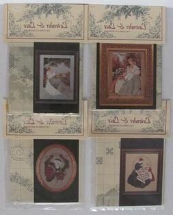 Lot of 4 Cross Stitch Patterns LAVENDER & LACE Quiltmaker SA