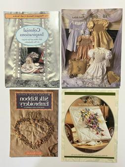 Lot of 4 Silk Ribbon Embroidery Craft Books - Flowers~Smocki