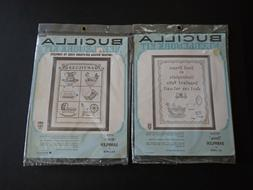 LOT Bucilla Stamped Cross Stitch Sampler Kits Courtesy Antiq