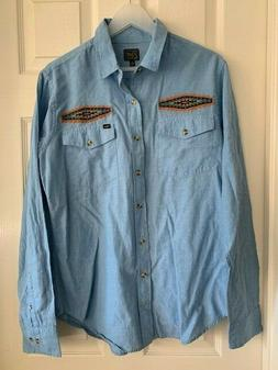 Men's OBEY Long Sleeve Button Down Shirt, Chambray w/embroid