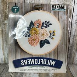 Mini Maker Stitchery Wildflowers 11 Piece Embroidery Kit Lei