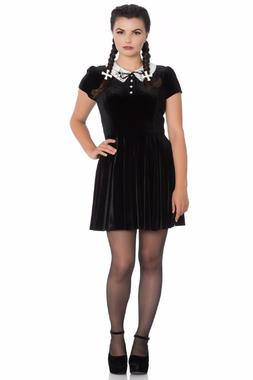 Hell Bunny Miss Muffet Mini Dress Spider Web Embroidery Whit
