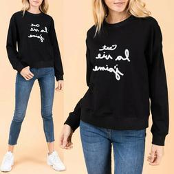 NEW Black White Embroidery Graphic C'est La Vie J'aime Cotto