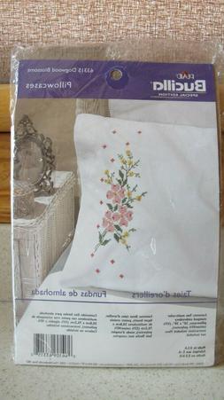 NEW Bucilla Pillowcase Embroidery DOGWOOD BLOSSOMS Kit #6331