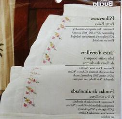 "NEW Bucilla ""PRETTY POSIES""  PILLOWCASE PAIR Stamped  Embroi"