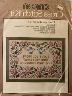 NIP 1977 Caron Stamped Cross Stitch Kit I LOVE YOU MORE w/ R