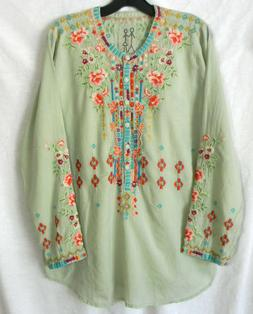 NWT JOHNNY WAS KRSNA SZ M EMBROIDERED PEASANT BLOUSE TOP COT