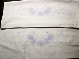 Pair - Vintage Janlynn Floral Stamped for Embroidery Pillow