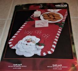 "Plaid Bucilla Felt Table Runner ""For Santa"" 16""x39"" Embr"