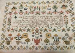 Plum Street Antiques X-stitch Pattern 1837 Crown Sampler Nee