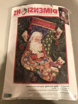 "Rare Dimensions Needlepoint ""Santa's Toy Shop Stocking"" 9123"