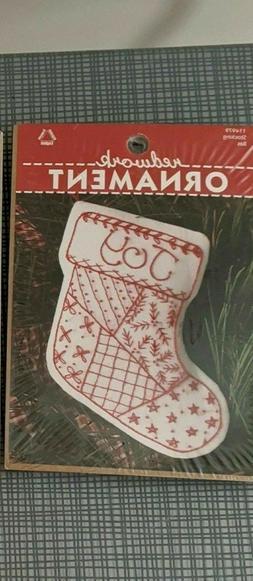 redwork ornament kit stocking 114979