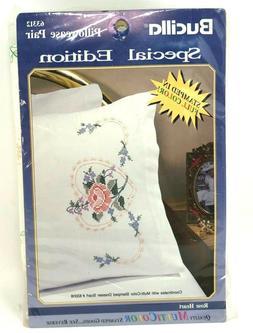 Bucilla Rose Heart Pillowcase Pair 63312 Special Edition Cro
