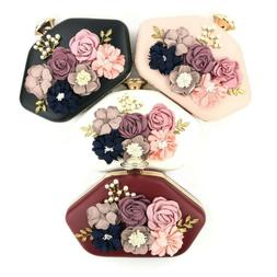 Round Womens Bags Floral Embroidery Evening Handbag Party Co