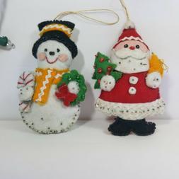 Bucilla Santa & Snowman handmade kit Ornaments Completed Fin