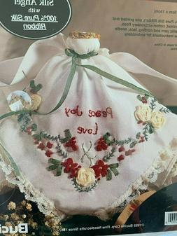 Bucilla Silk Ribbon Embroidery Kit Silk Angel Peace Love Joy
