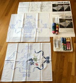 Bucilla stamped cross stitch English Garden Double Quilt & 2
