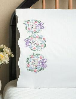 Stamped Embroidery ~ Design Works Flower Cats PILLOWCASE PAI