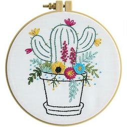 Bucilla Stamped Embroidery Kit -Cactus Bloom