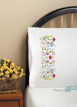 """Tobin Stamped For Embroidery Pillowcase Pair 20""""X30""""-Cats In"""