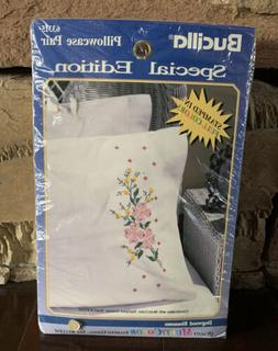 Bucilla Stamped Pillow Cases for Embroidery and Cross Stitch