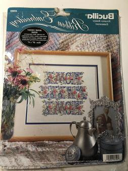 """Bucilla Stamped Ribbon Embroidery Kit New/Sealed """"Home Sweet"""