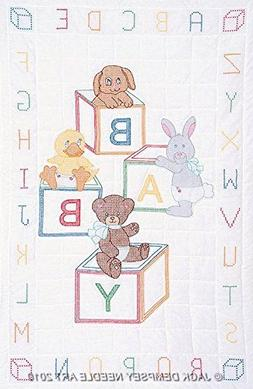 Jack Dempsey Stamped White Quilt Crib Top Baby Blocks 113198