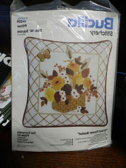 Bucilla Stitchery Crewel Pillow Kit Dried Flower Basket
