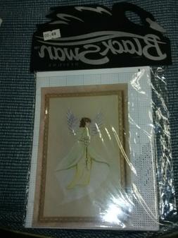 Vintage 1996 Black Swan  Cross Stitch Angel Chart Calla Lily